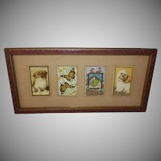 Four Small Advertising Cards in Carved Wood Frame