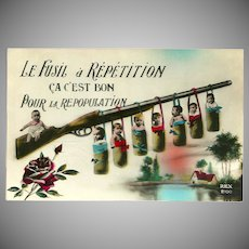 Vintage Glossy French Post War Postcard Promoting Repopulation