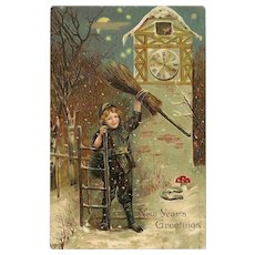 Embossed German Postcard Boy with Broom New Year's Greetings