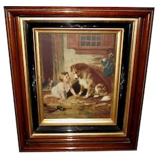 Vintage Calendar Print of Child with Dog and Cat in Deep Eastlake Frame