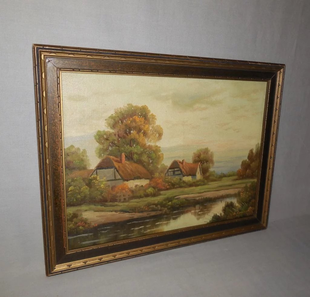 Sussex Cottages Oil Painting On Board By A Spencer