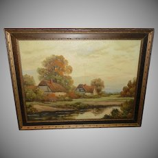 Sussex Cottages Oil Painting on Board by A. Spencer