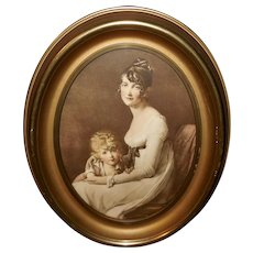 Marie Benoist Vintage Print of Madame Jeanne Egle Mourque and Son Eugene
