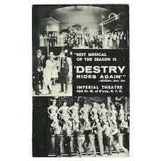 Advertising 1959 Postcard for Musical Destry Rides Again at Imperial Theatre