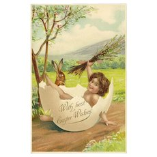 Embossed Undivided Easter Postcard with Girl and Rabbit