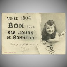French 1904 Undivided New Year Postcard with Young Girl