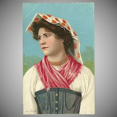 Richter Vintage Chromolithograph Postcard of Woman in Ethnic Dress