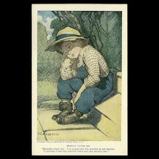 Reinthal Newman 1909 Artist Signed Postcard of Nobody Loves Me - Red Tag Sale Item