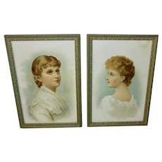 Pair of Chromolithographs of Women in Green Wood and Gesso Frames