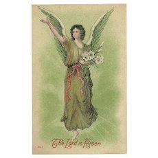 Vintage Easter Postcard of Angel - Lord is Risen