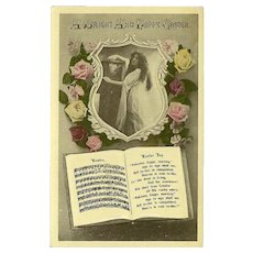 Embossed Vintage Easter Postcard with Lady, Flowers, and Music