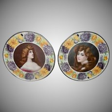 Pair Vintage Flue Covers Ladies Surrounded by Floral Border
