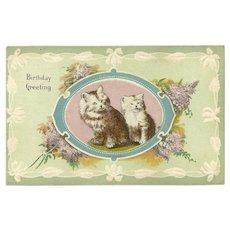 Embossed Birthday Greeting Postcard with Two Kittens