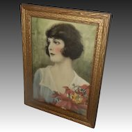 Beautiful Tinted Lady Print Titled Golden Days by Osborne Company