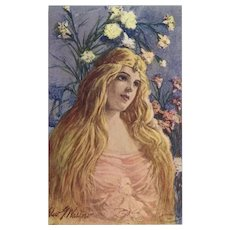 Artist Signed 1907 Postcard of Art Nouveau Style Blonde - Red Tag Sale Item
