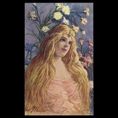 Artist Signed 1907 Postcard of Art Nouveau Style Blonde - Red Tag Sale Item