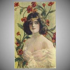 Artist Signed 1907 Postcard of Art Nouveau Style Brunette