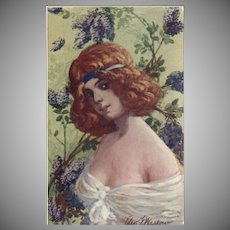 Artist Signed 1907 Postcard of Lovely Red Haired Lady