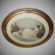 Art Deco Style Lady with Borzoi Dog - In Repose by Courcelles