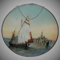 Large Embellished Flue Cover of Sailing Boat
