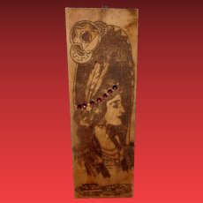 Flemish Art Pyrography 938 Indian Maiden with Embellishment