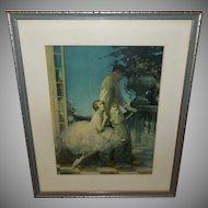 Walter Webster Art Deco Style Vintage Print of Ballerina and Harlequin