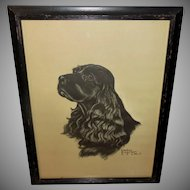 Gladys Emerson Cook Vintage Print of Black Cocker Spaniel Dog