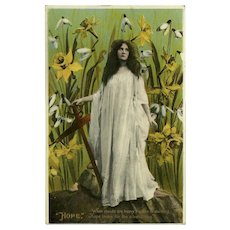Vintage Philco Gel Postcard of Hope - Lovely Lady and Flowers