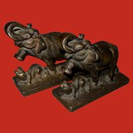 Littco Cast Iron Figural Elephant and Tiger Bookends 1920s