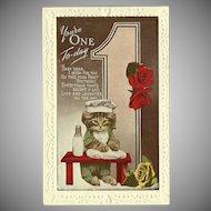 Vintage Embossed One Year Birthday Postcard with Kitten