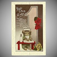 Vintage Embossed One Year Birthday Postcard with Kitten