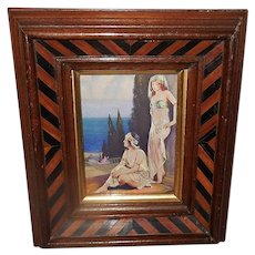 Small Vintage Print by L. Goddard of Art Deco Style Women in Two Tone Wood Frame