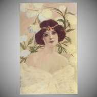 Artist Signed Vintage Postcard of Lady with White Flowers