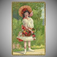 Embossed 1909 Postcard of Young Girl with Basket of Flowers
