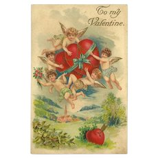 Embossed German Valentine Postcard with Hearts and Cherubs