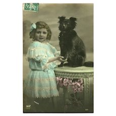 French Photo Postcard of Young Girl with her Dog