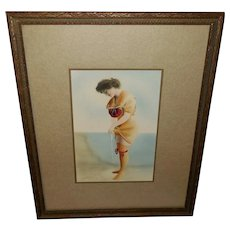 Celebrity Art Company 1907 Hand Colored Photo Print of Lady on Beach