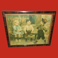 Vintage Print of Three Children titled Youthful Admiration