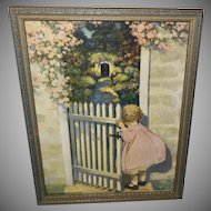 Jessie Willcox Smith Vintage Campbell Print of Girl and Garden Gate