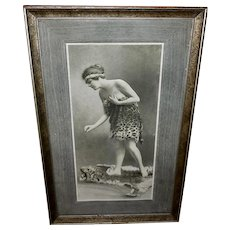 Framed Embossed Candy Box Lid with Lady on Tiger Rug