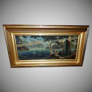 Arthur Gompel Vintage Print of Morning Rays in Shadow Box Frame