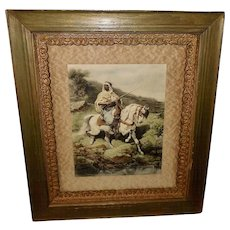 Adolph Schreyer Embossed Print of Arab Warrior on White Horse