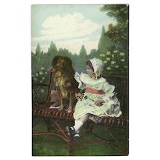 Vintage Photo Postcard of Young Girl with Large Dog