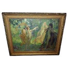 Louis Berneker Vintage Print of Dancing Woodland Nymphs