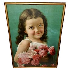 Metropolitan Life Chromolithograph Calendar of Young Girl with Flowers