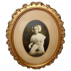 Vintage Photograph of Lady Dressed in White in Oval Frame