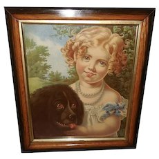 Chromolithograph Advertising Premium of Two Pets Girl and Newfoundland Dog