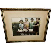 Vintage Color Photo of Four Girls with Disney Gift