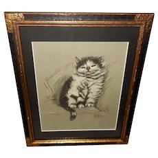 Gladys Emerson Cook Vintage Print of Black and White Kitten or Cat