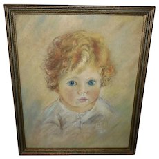 Pastel Drawing dated 1924 of Young Curly Haired Child